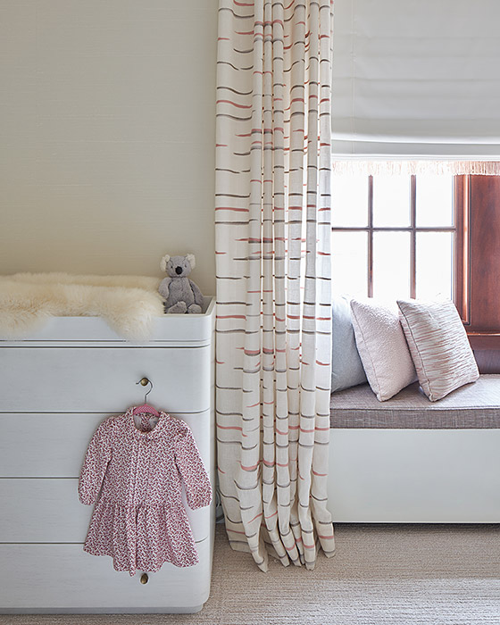 Nursery dresser, drapes and window seating